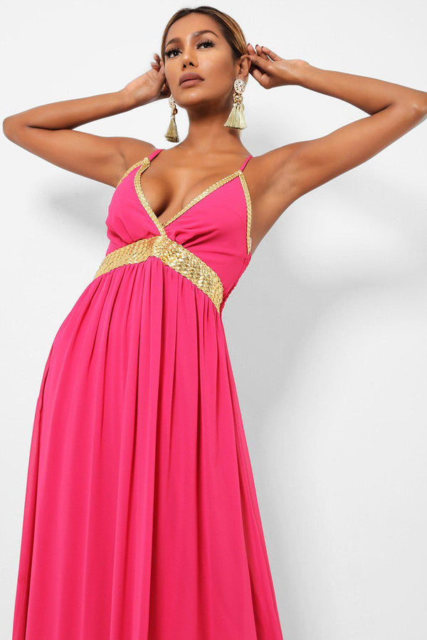 Gold Braided Details Hot Pink Maxi Dress-SinglePrice