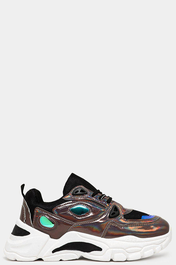 Holographic Pewter Chunky Flatform Trainers - SinglePrice