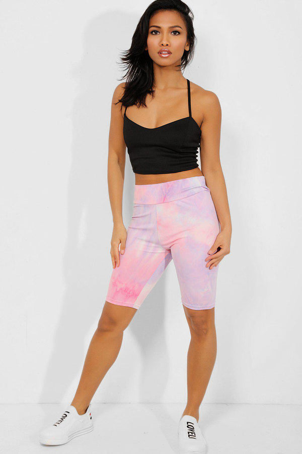 Pink Tie-Dye High Waisted Cycling Shorts - SinglePrice