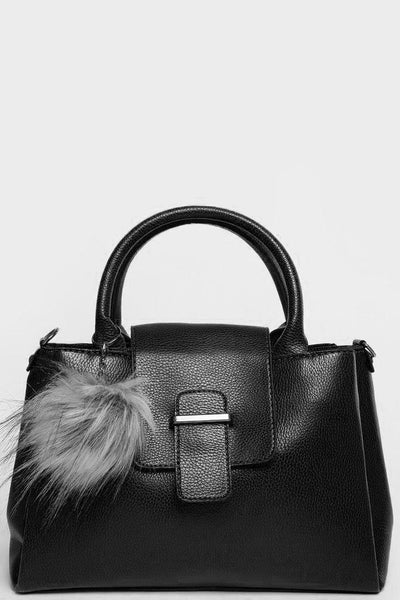 Fur Pom Pom Mini Tote Black Bag-SinglePrice