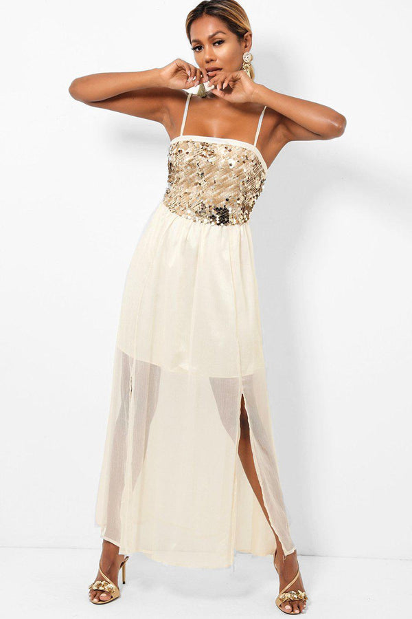 Sequinned Top Sheer Chiffon Skirt Cream Maxi Dress - SinglePrice