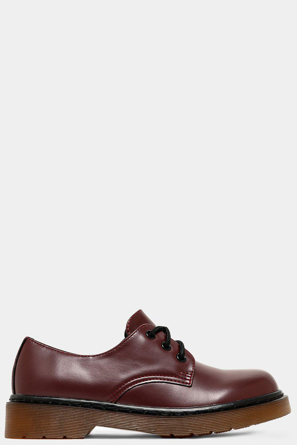 Wine Vegan Leather Classic Oxford Shoes - SinglePrice