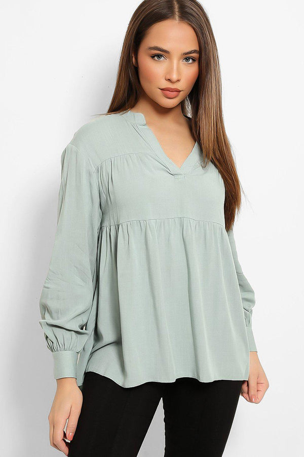 Mint V-Neck Tiered Swing Top