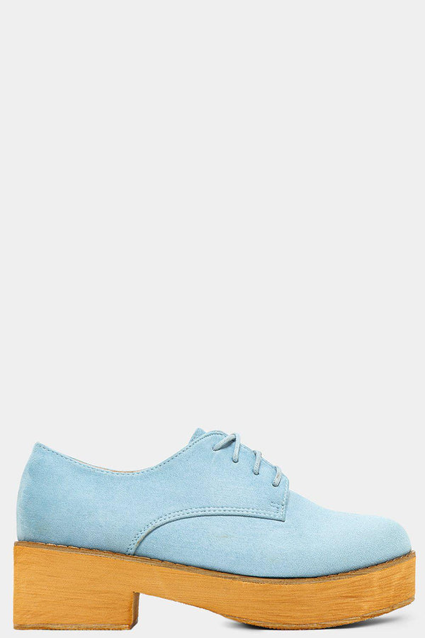 Blue Vegan Suede Chunky Oxford Shoes - SinglePrice