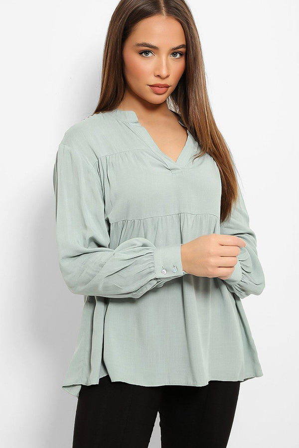 Mint V-Neck Tiered Swing Top-SinglePrice
