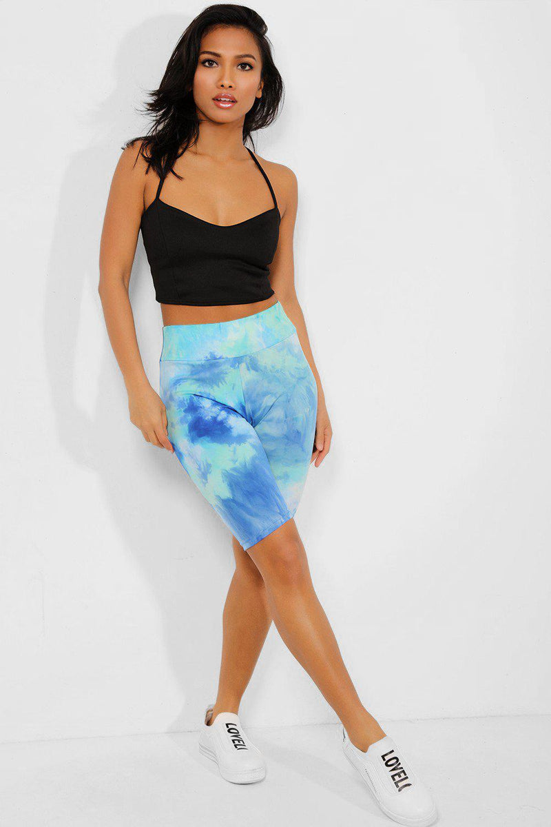 Ocean Blue Tie-Dye High Waisted Cycling Shorts - SinglePrice