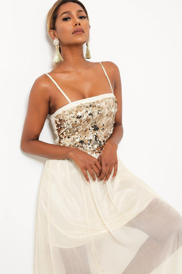 Sequinned Top Sheer Chiffon Skirt Cream Maxi Dress-SinglePrice