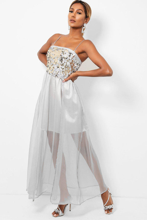 Sequinned Top Sheer Chiffon Skirt Grey Maxi Dress - SinglePrice