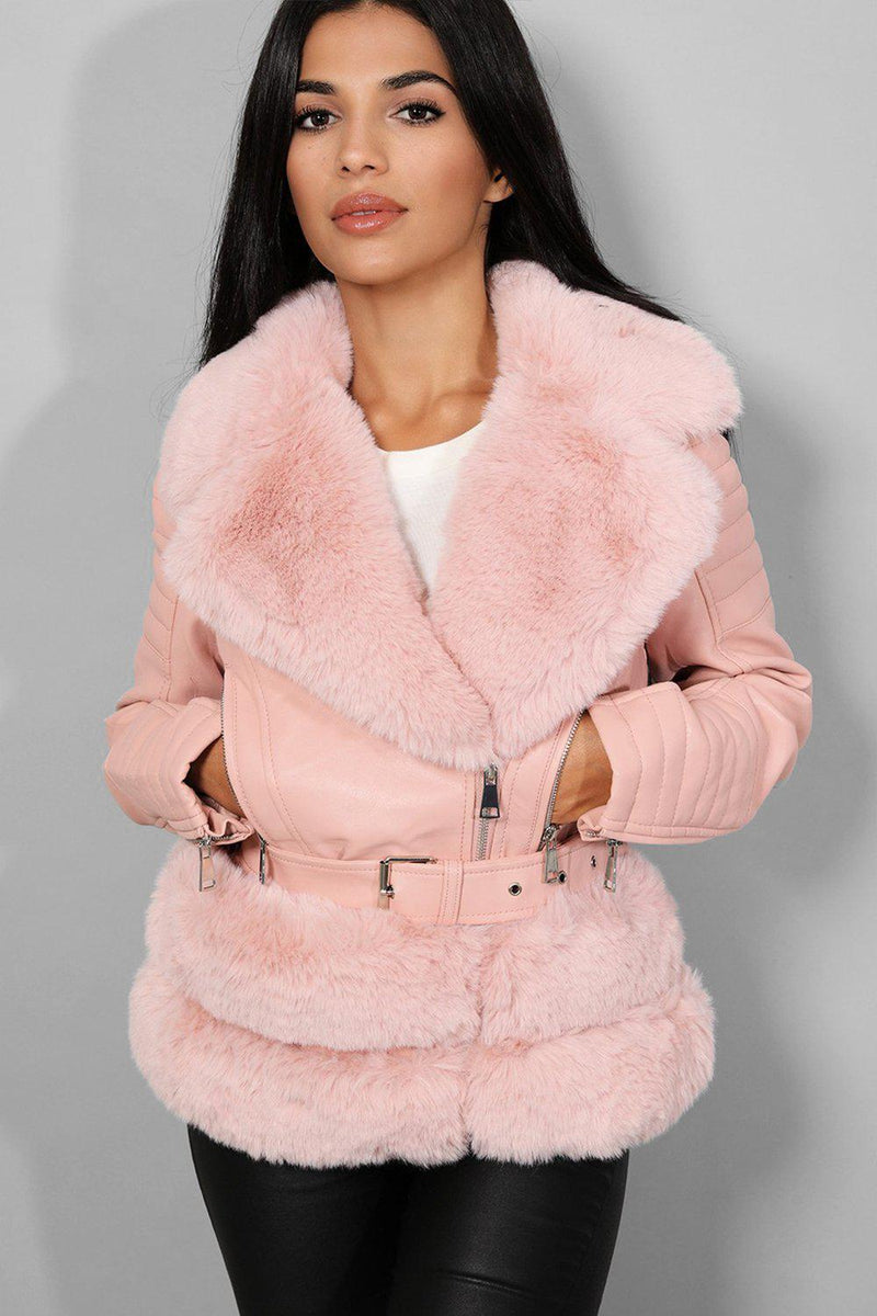 Pink Faux Fur Trims Vegan Leather Aviator Jacket - SinglePrice