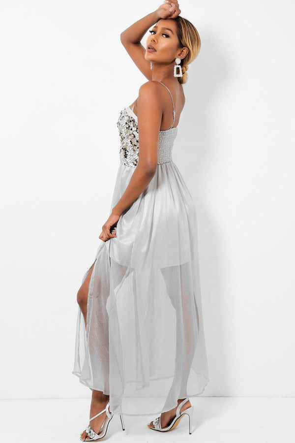 Sequinned Top Sheer Chiffon Skirt Grey Maxi Dress-SinglePrice
