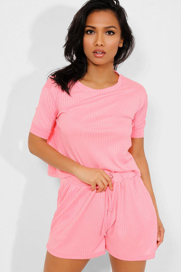 Pink Ribbed Shorts And Tee Set - SinglePrice