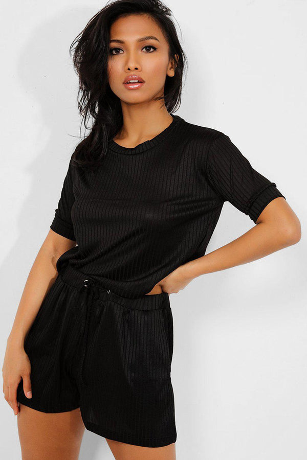 Black Ribbed Shorts And Tee Set - SinglePrice