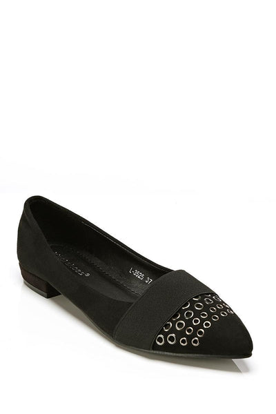 Black Rivets Embellished Point Toe Shoes-SinglePrice