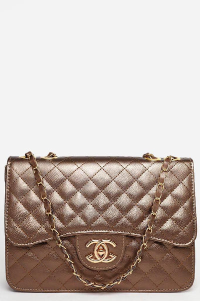 Gold Chain Strap Curved Flap Quilted Bronze Handbag-SinglePrice