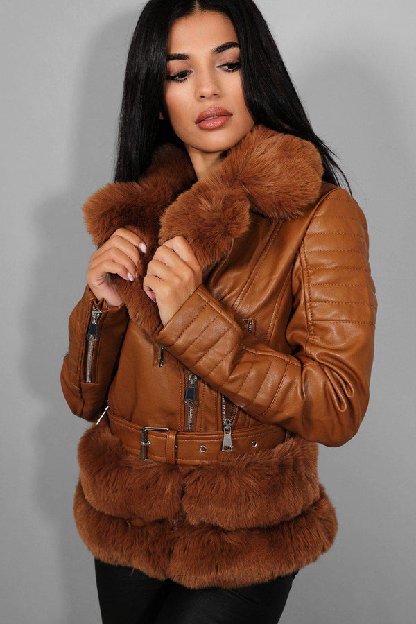 Camel Faux Fur Trims Vegan Leather Aviator Jacket - SinglePrice