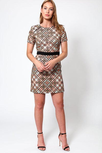 Rose Gold Plaid Mini Dress-SinglePrice