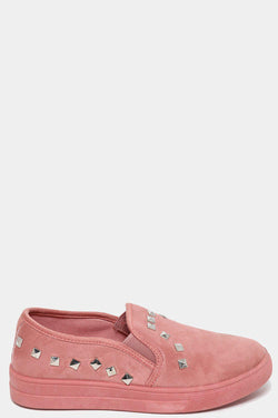 Pink Studded Flat Shoes - SinglePrice