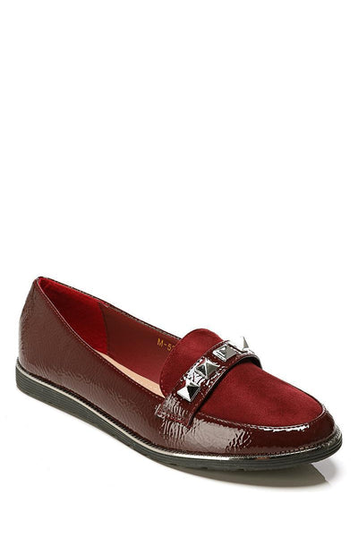 Dark Red Pyramid Studs Loafer Shoes-SinglePrice