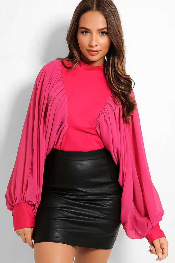 Hot Pink Exaggerated Puff Sleeves High Neck Blouse - SinglePrice