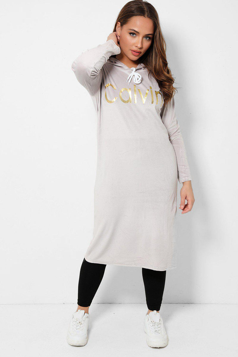 Grey Slogan Front Soft Velvet Tunic And Leggings 2 Piece Loungewear-SinglePrice