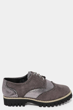 Two Textures Grey Brogue Oxfords - SinglePrice