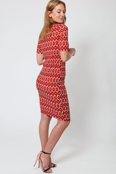 Brick Red Jacquard Midi Dress-SinglePrice