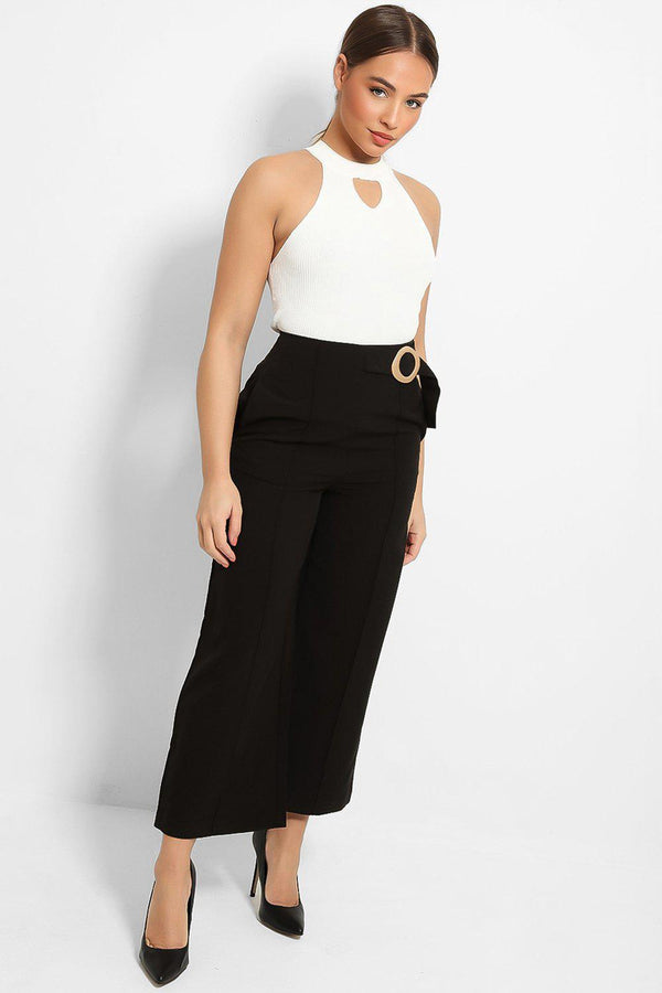 Black Ring Belt Detail tailored Culottes