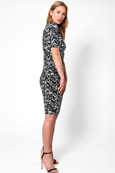 Black & White Jacquard Boducon Dress-SinglePrice