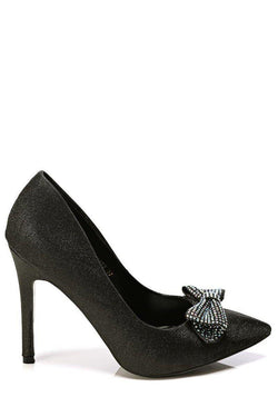 Black Crystal Embellished Bow High Heels - SinglePrice
