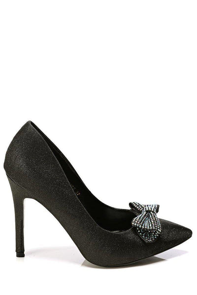 Black Crystal Embellished Bow High Heels-SinglePrice