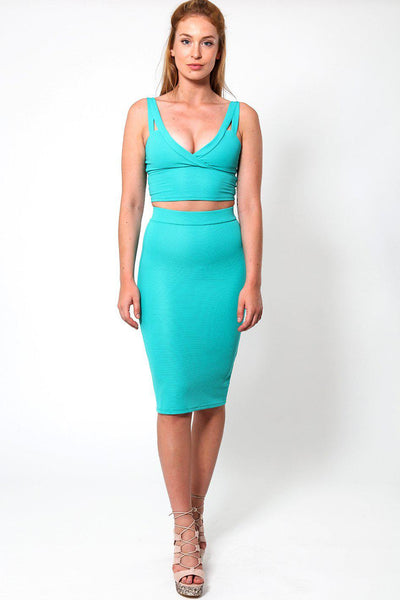 Crop top Midi Skirt Turquoise Set-SinglePrice