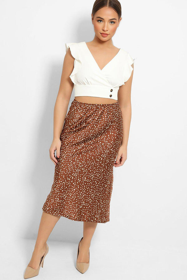 Brown Spots Print Satin Touch Skirt-SinglePrice