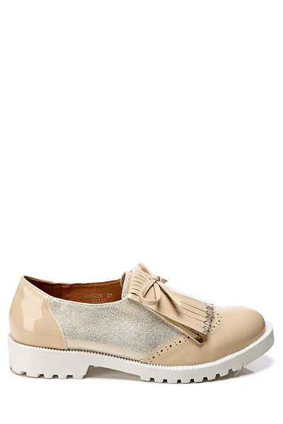 Beige Patent PU Glitter Loafer Shoes-SinglePrice