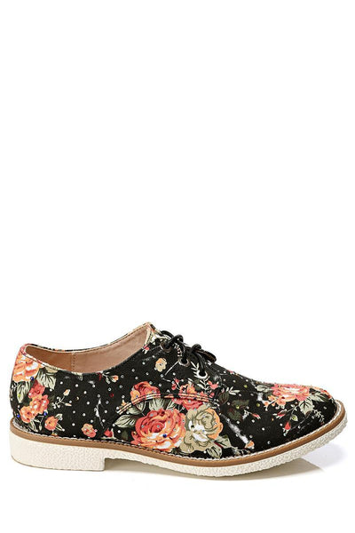 Black Floral Print Encrusted Lace Up Shoes-SinglePrice