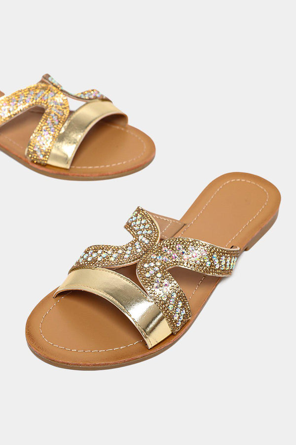 Gold Crystals Embellished Strap Sliders - SinglePrice