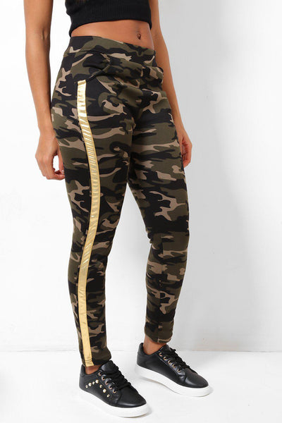 Gold Stripe Fleece Lined Camo Leggings-SinglePrice