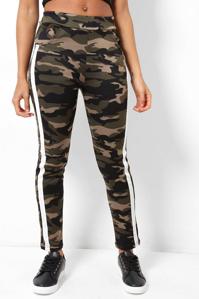 White Stripe Fleece Lined Camo Leggings-SinglePrice
