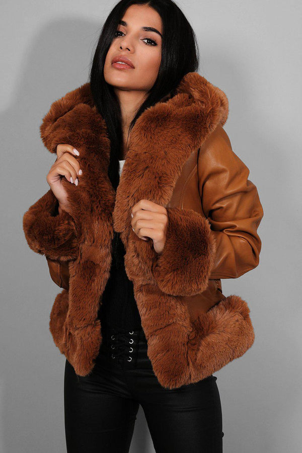 Camel Faux Fur Trims Vegan Leather Jacket - SinglePrice