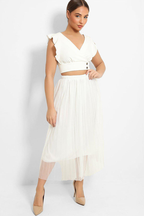 White Pleated Tulle Maxi Skirt