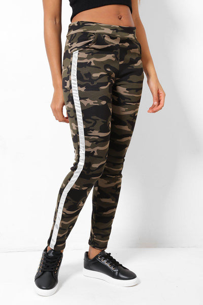 Silver Stripe Fleece Lined Camo Leggings-SinglePrice