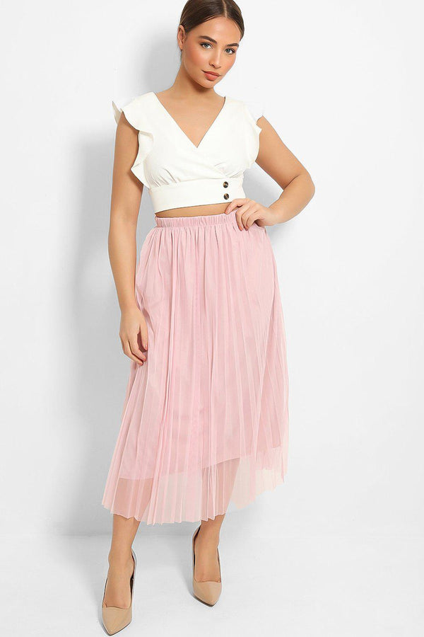 Pink Pleated Tulle Maxi Skirt