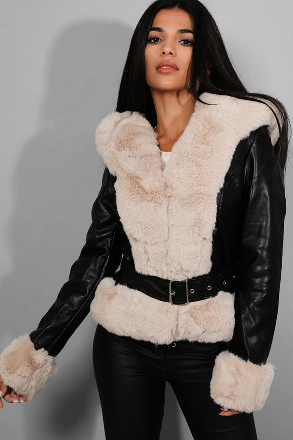 Beige Faux Fur Trims Black Vegan Leather Jacket - SinglePrice