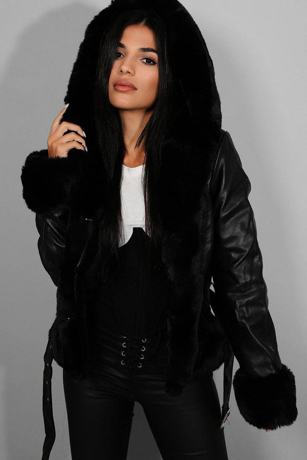 Black Faux Fur Trims Vegan Leather Jacket - SinglePrice