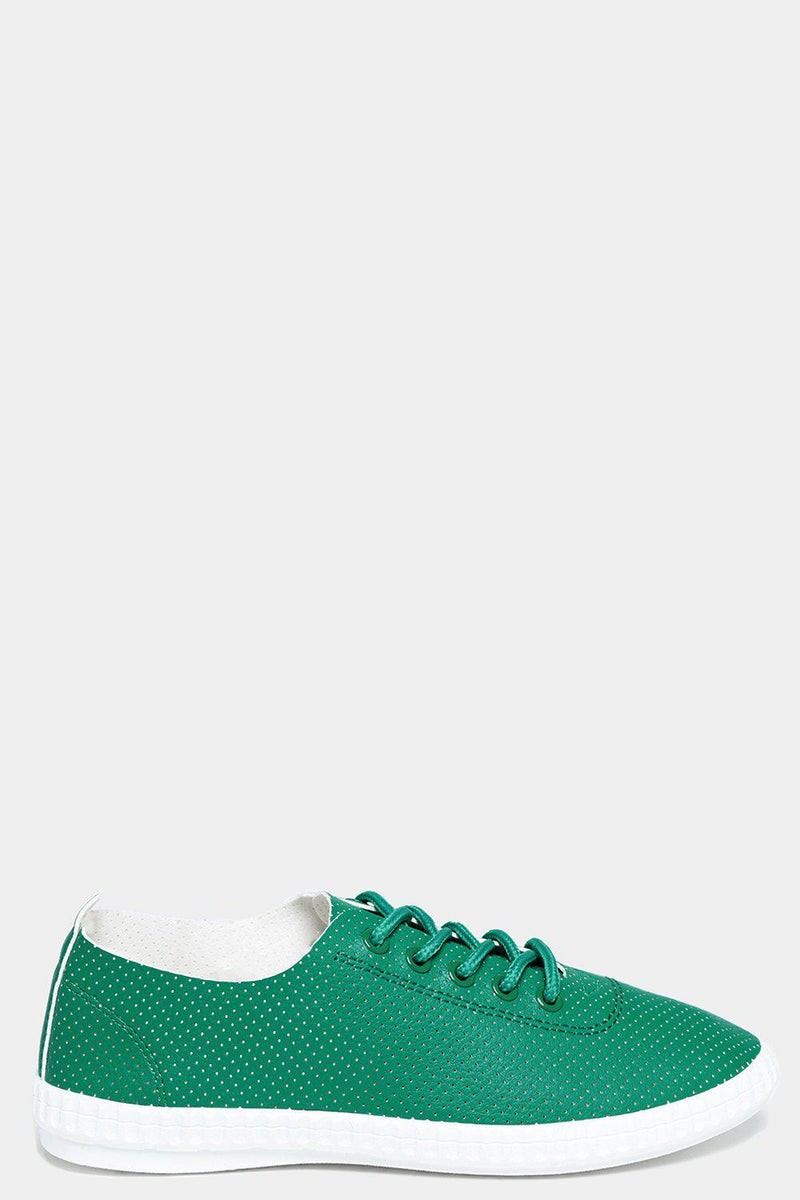 Green Lightweight Perforated Flat Trainers - SinglePrice