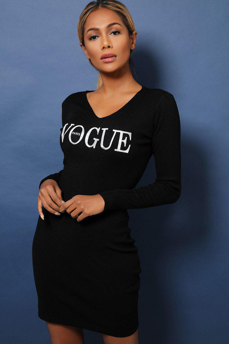 Black Slogan V-Neck Super-Soft Knit Bodycon Dress - SinglePrice