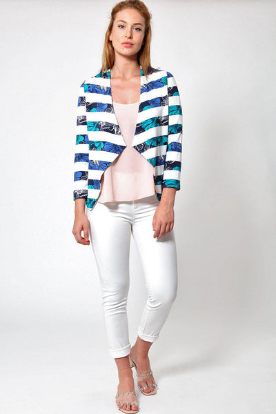 Blue Floral Print Stripes Open Summer Blazer-SinglePrice