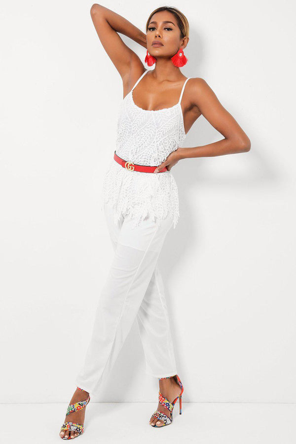 White Crochet Lace Top Cami Jumpsuit-SinglePrice
