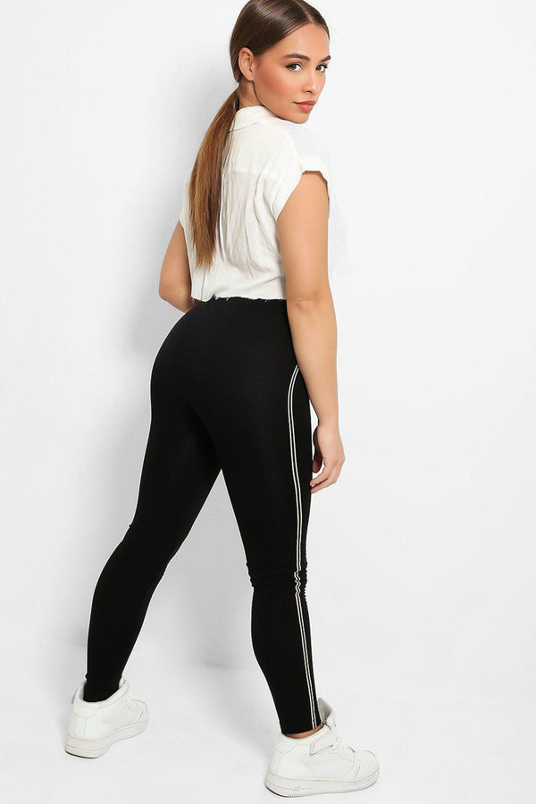 Black Twin Thin Stripe Side Fleece Lined Leggings-SinglePrice