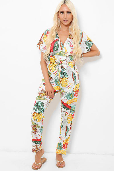 Yellow And Red Palm Leaves Print Jumpsuit-SinglePrice