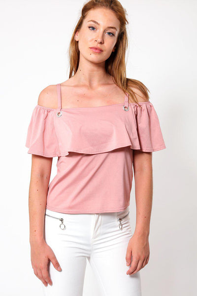 Open Shoulders Pink Frill Top-SinglePrice